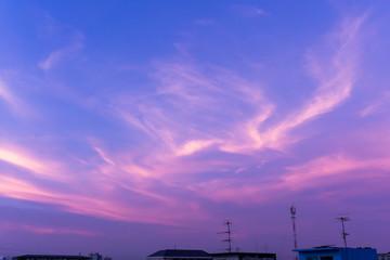 Twilight Sky Silk Clouds Purple Color Background
