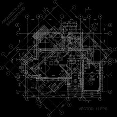 Detailed architectural plan on black. Vector blueprint. Architectural background.