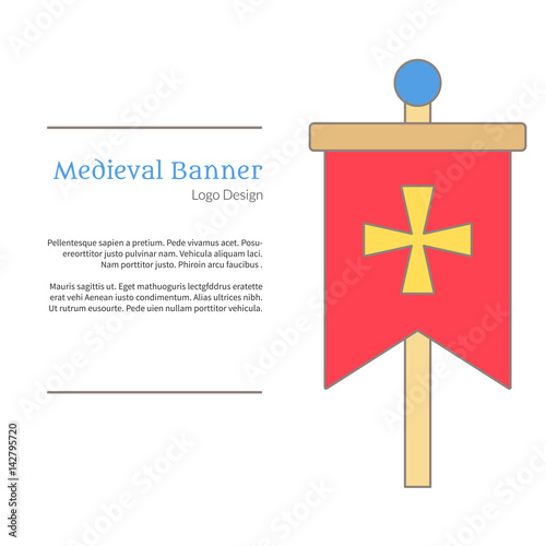 medieval banner knight flag single logo in flat and thin line