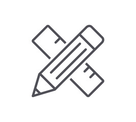 Pencil and Ruler Line Icon