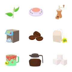 Coffee icons set, cartoon style
