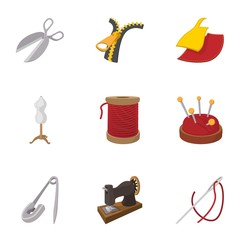 Tools for sewing dresses icons set, cartoon style
