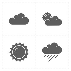 four flat modern weather icons
