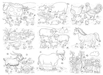At the farm. Set of illustrations cute farm animals and vegetable garden. Coloring page
