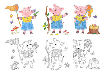 Three little pigs. Fairy tale. Illustration for children. Coloring page. Cute and funny cartoon characters