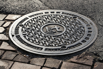manhole on the street in South Korea