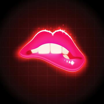 Vector Woman Biting Lips Retro Illustration