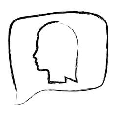 sketch monochrome of rectangular speech with silhouette female head vector illustration