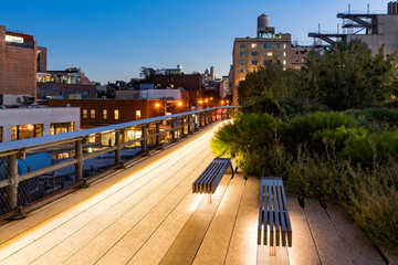 The Highline at twilight in summer. The aerial greenway, also called High Line or High Line Park, is an oasis in the heart of the West Village (Meatpacking District, Gansevoort Market), New York City