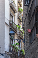 Narrow street in gothic quarter of Barcelona
