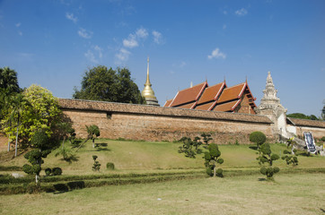 View landscape at front of Wat Phra That Lampang Luang