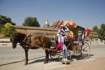 Travelers thai women posing with horse drawn carriage before tour around city at Wat Phra That Lampang Luang