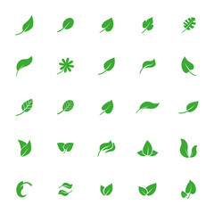 simple leaf icon collection, leaves set