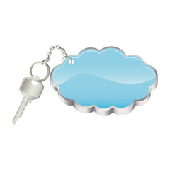 3D realistic metal key with keyring in cloud shape vector illustration