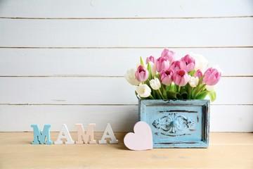Muttertag - Blumenstrauß - Shabby Chic - Muttertagsgrüße - Grußkarte