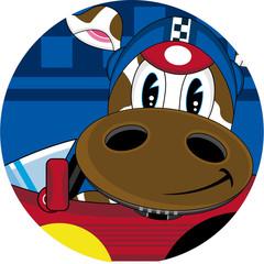 Cartoon Cow Racing Car Driver