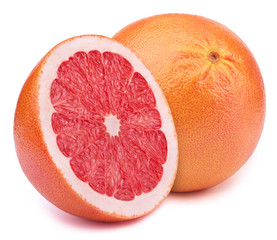 Perfectly retouched grapefruit with half slice isolated on white background with clipping path