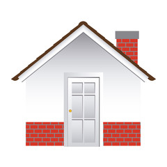 comfortable facade house with chimney without windows vector illustration