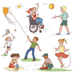 Vector color set of sketch illustration of children. Girl in wheelchair ball game with the boy, the child catches a butterfly net, launches a kite. Jumping rope and playing in the sandbox.