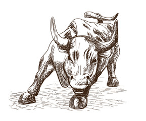 Hand drawn sketch of the landmark Charging Bull in Lower Manhattan represents aggressive financial optimism and prosperity in New York, NY. Vector illustration.