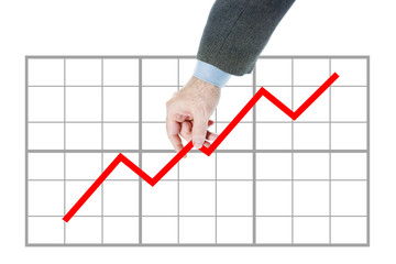 Man holds chart going upwards. Concept of rate growth and increase