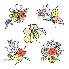 Set of vector illustrations of insect. Ladybug, butterfly, bee, apis, petal, flowers, leaves on the white background. Hand drawn contour lines and strokes with splash, drops, spot.