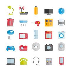 Collection of vector flat devices icons for web design. Household and office appliances