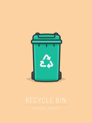 Green recycle bin icon in line art style vector illustration
