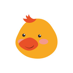 cartoon duck head infantile vector icon illustration