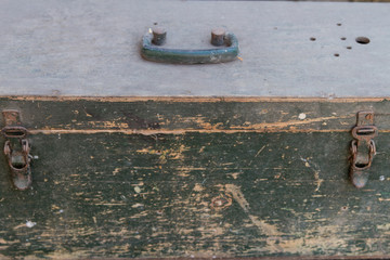 Wooden box with handle and locks