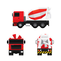Vector of cement mixer truck in different views isolated on white background.