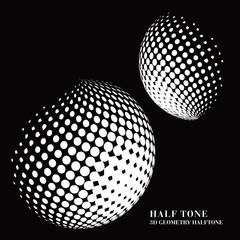 Half tone gradient 3D black geometry round dot sphere ball