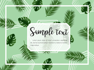 Abstract Vector layout with frame and tropical leaves on green Background . Trendy vector illustration. Tropical layout.