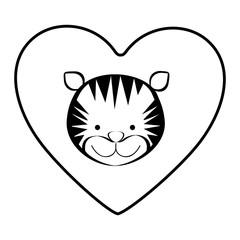 tiger animal inside line heart, vector illustration