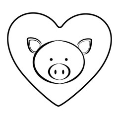 pig animal inside line heart, vector illustration