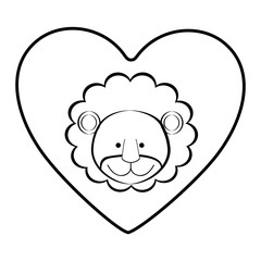 lion animal inside line heart, vector illustration