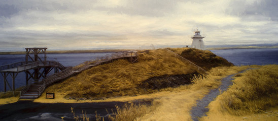 Cape Enrage panorama showing lighthouse with ocean and land in the background