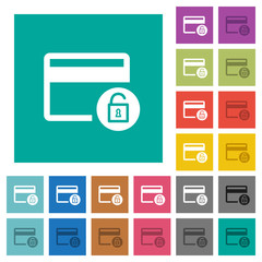 Unlock credit card transactions square flat multi colored icons