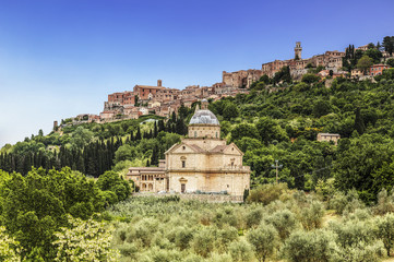 View of the city of Montepulciano and the church of Madonna di San Biagio, Tuscany, Italy