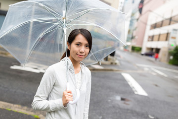Woman holding umbrella with raining outside