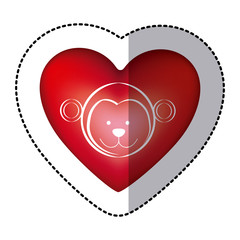 sticker monkey animal inside red heart, vector illustration