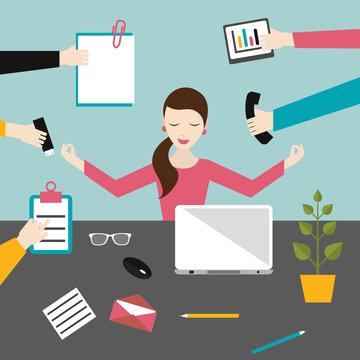 Businesswoman in lotus meditation position in work office. Multitasking concept. Flat  illustration.