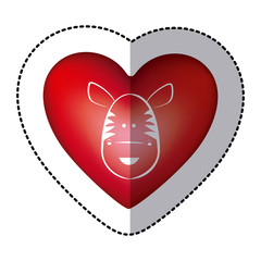 sticker zebra animal inside red heart, vector illustration