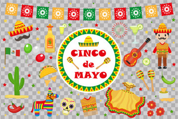Cinco de Mayo celebration in Mexico, icons set, design element, flat style.Collection objects for Cinco de Mayo parade with pinata, food, sambrero, tequila, cactus. Vector illustration, clipart.