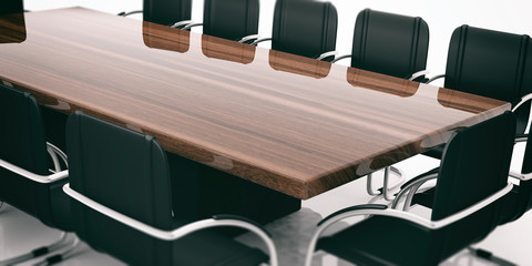 Meeting table and chairs. 3d illustration
