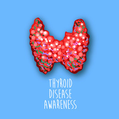 World thyroid day poster. Human thyroid disease awareness. Thyroid gland cancer. Thyroid Solidarity Day. Medical concept. Vector Illustration