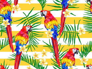 Seamless jungle pattern with parrot exotic bird, palm leaf, tropical flower vector background. Perfect for wallpaper, pattern fill, web page, surface texture, textile. Summer tropical seamless pattern