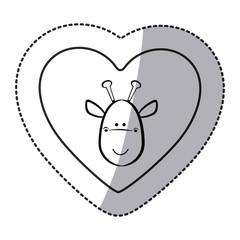 sticker giraffe animal inside line heart, vector illustration