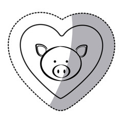 sticker pig animal inside line heart, vector illustration