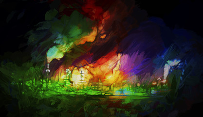 High coloured abstract showing night time lighting, flames and smoke from refinery with textured painted effect on dark background